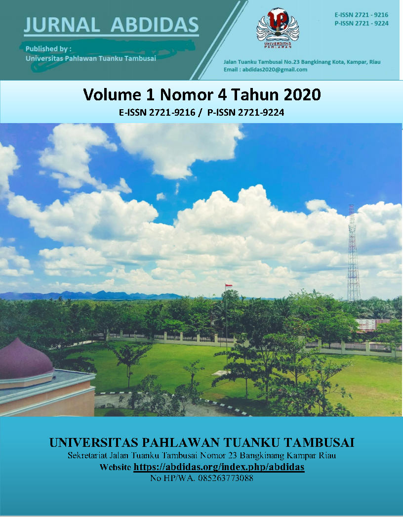 View Vol. 1 No. 4 (2020): Vol 1 No 4 August Pages 183-305